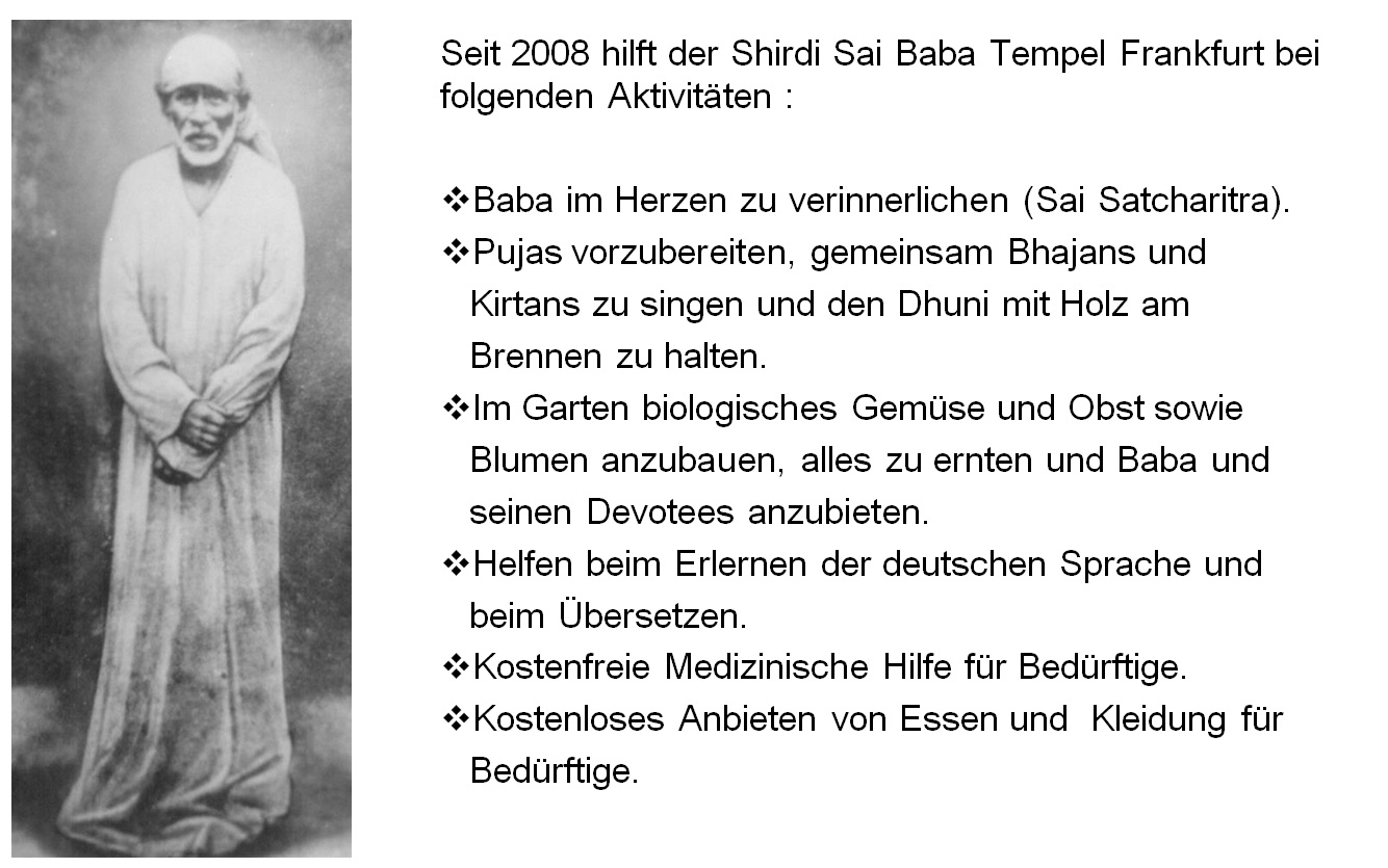 Shirdi Sai Baba Temple Frankfurt Germany, Shirdi Sai Baba Tempel Frankfurt Deutschland, Main Activities